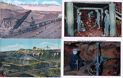 4 Vintage LINEN postcards~ Minnesota Iron Mining, men in tunnels, trains, cranes