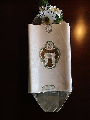 12 Damask Linen Napkins Arches & Flowers, New In Pkg., Vintage, Hemmed