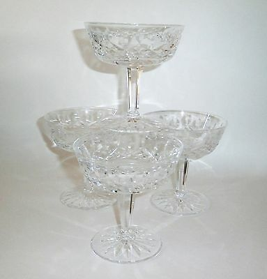Beautiful Waterford Crystal Lismore Stem Champagne Tall Sherbet Set Of 4