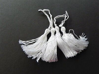 New Pk of 4 small white Tassels