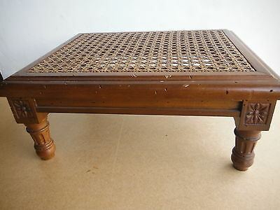 Ornate Carved Wooden PLANT or FOOT STOOL with Cane Weaving