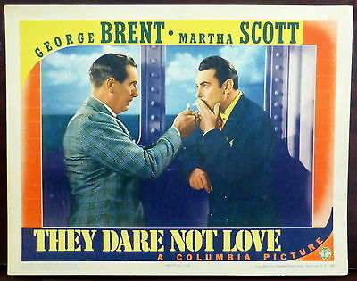 Paul Lukas George Brent ORIGINAL 1941 Lobby Card They Dare Not Love WWII