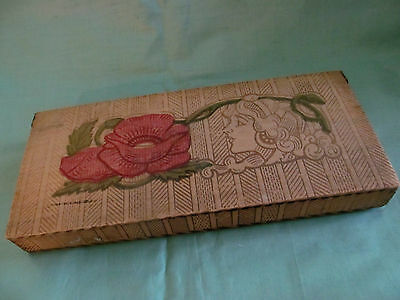 Antique Pyrography Box~Stationary Gloves Ties~Flemish Art Kit Art Nouveau Girl