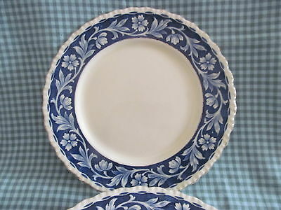 "Set of 4~ELYSIAN Bread Plates 6"" Blue Floral Transfer~Grindley England 1936-54"