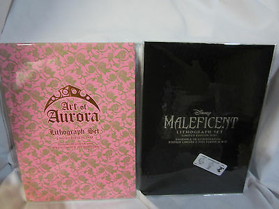 Disney Store Maleficent And Sleeping Beauty Limited Edition Lithograph Sets -Nip