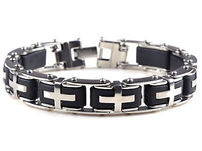 Vintage Harley Riders Cross Stainless & Rubber Motorcycle Bracelet,,,,,FREE SHIP