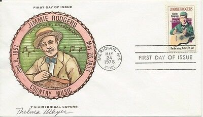 #1755 Jimmie Rodgers Hand Painted TM Historical cachet First Day cover