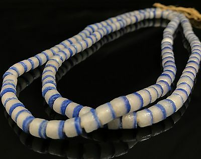 "Vintage 30"" Venetian African Trade Bead Blue/white Glass Necklace (E29)"