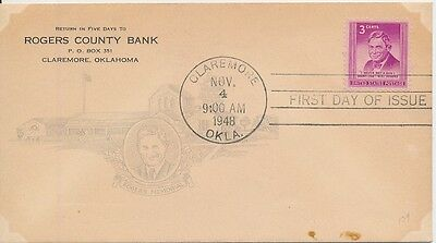 #975 Will Rogers Harry Ioor Rogers county Bank cachet First Day cover very scarc