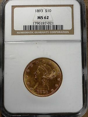1893 $10 Gold Eagle! NGC certified MS62! Rare, high grade! gd145