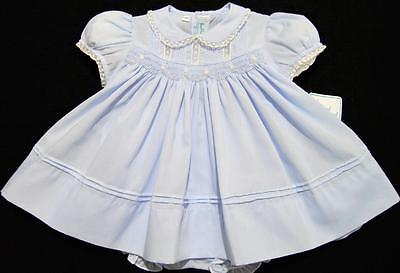 HAND~EMBROIDERED NEWBORN SMOCKED 2PC BLUE BATISTE DRESS~FRENCH LACE~reborn doll