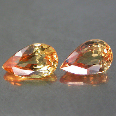 2pcs/1.14Cts/6x4mm. Sparkling 100%Natural Color Padparadscha Sapphire P/s Africa