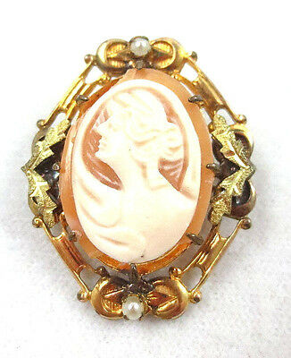 Antique Victorian Gold Filled Real Shell Cameo Brooch
