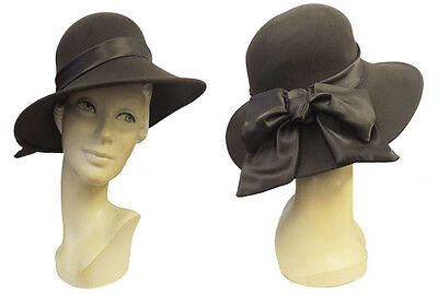 VTG Style 1940s Brown Wide Brim Felt Tilt Fedora Hat with Satin Ribbon and Bow