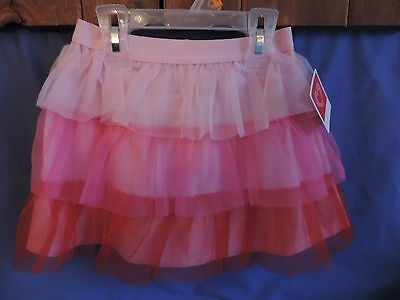 Toddler Size 4T Girls Pink & Red Tiered Tulle Tutu Skirt * Valentine's Day