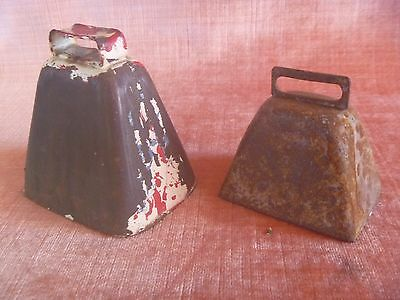 2 Small Old Antique Original Cow Bells Or Goat Bells Made Of Iron