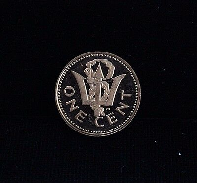 1973 FM Barbados 1 One Cent Proof Coin KM 10 Neptune's Trident