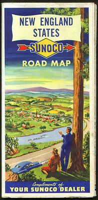 Sunoco Gasoline Road Map New England 1951