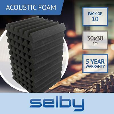 10pk 30x30cm Wedge Sound Foam Panels Tiles Acoustic Treatment