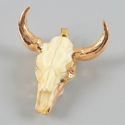 HOT Longhorn Resin Horn Bull Cattle Head Pendant With Gold Plated H80823