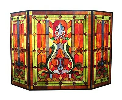 TIFFANY STAINED GLASS FIREPLACE SCREEN * CRIMSON JEWELS Victorian Deco Geometric