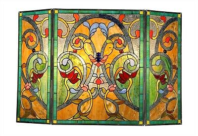 TIFFANY STAINED GLASS FIREPLACE SCREEN * ARABELLA Botanical Vintage Amber Greens