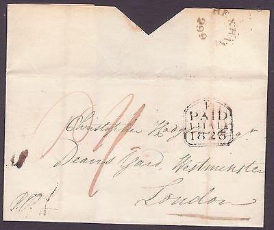 1825 Hexham 299 Northumberland undated circular cover to London 1s Rate