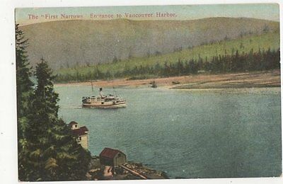 The First Narrows Entrance To Vancouver Harbor Canada Vintage Postcard 0974