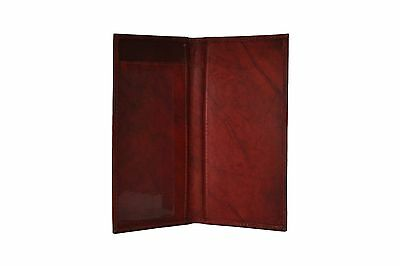 Genuine Leather PLAIN Checkbook Cover BROWN- NEW