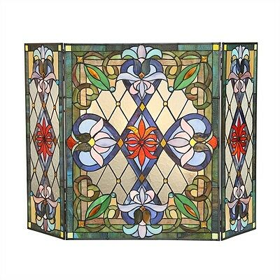 TIFFANY STAINED GLASS FIREPLACE SCREEN * Botanical Floral Lotus