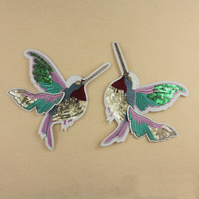 1pc/pair Embroidered Sew On Patch Badge Bird Shape Sequin Cloth Fabric Applique