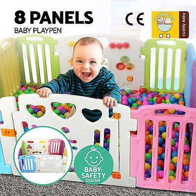 8 Panel Interactive Baby Playpen Kids Toddler Plastic Gate Safety Lock Divider