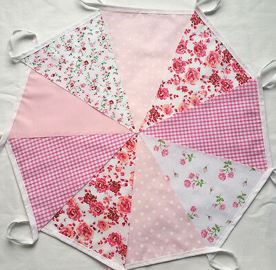 FLORAL PINK Fabric Party Bunting Vintage 9 Ft Weddings Baby Girl Birthday Banner