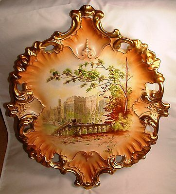 HUGE GILDED S. FIELDING & Co CROWN DEVON PLAQUE c.1902 - HADDON HALL - PERFECT