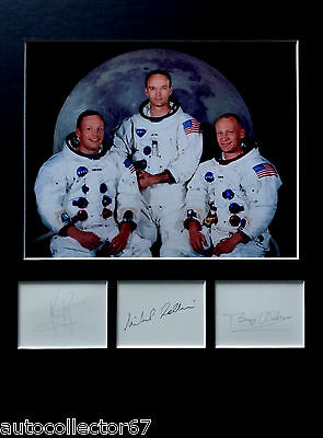 APOLLO 11  signed autographs DISPLAY Neil Armstrong Buzz Aldrin Michael Collins