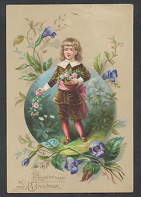C408 Victorian Xmas Card: Boy with Flowers