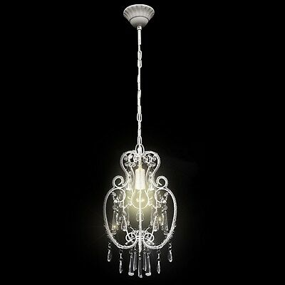 #sNew White Metal Pendant Lamp Ceiling Chandelier Light with Crystal Beads Clear