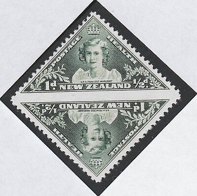 New Zealand (885) 1943 KG6 Health tete-beche pair -  a Maryland FORGERY unused