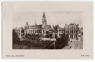 Vintage Real Photo Postcard Town Hall Southport RP 1679 posted 1910