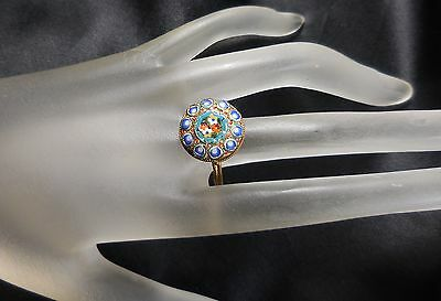 Micro Mosaic Ring Vintage Gold Tone Costume Jewelry