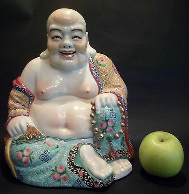 "Chinese Antique 12"" Porcelain Happy Laughing Buddha Famille Rose Enamels"