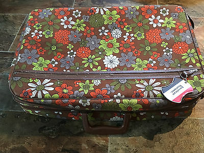Vtg Mid Century Mod Hippie Flower Floral Travel Luggage Suitcase Carry On BANTAM