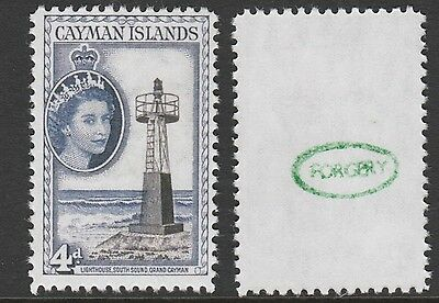 Cayman Is (878) 1953 QEII Lighthouse 4d - a Maryland FORGERY unused