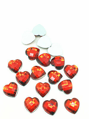 New 100pcs Resin Faceted Heart Crystal 10mm Flatback For DIY Phone Crafts Red
