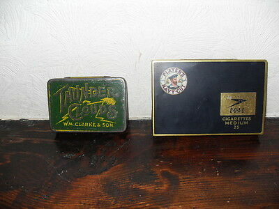 2 Old Tobacco/ Cigarette Tins, 1 Thunder Clouds, 1 John Players Navy Cut.