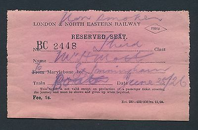 London & North Eastern Railway Reserved Seat Ticket,