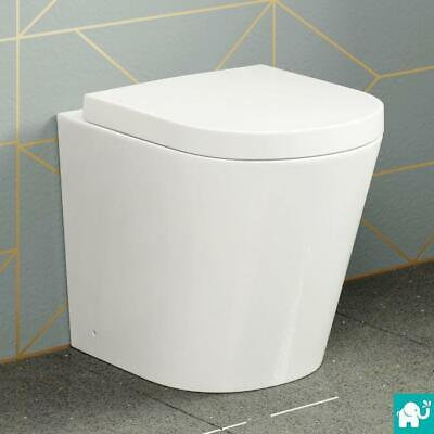 BTW Back To Wall Pan Round Toilet WC Modern Quick Release Soft Close Seat White