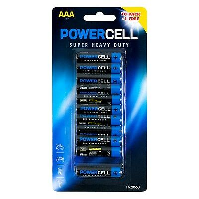 AAA Batteries Powercell Heavy Duty Mercury Free LR03 Professional 11 pack