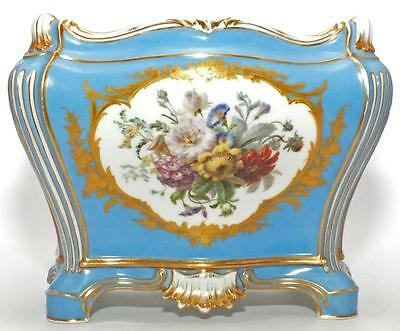 "SUPERBLY PAINTED GILDED LARGE 19th C SEVRES STYLE JARDINIERE PLANTER (11"" X 9"")"