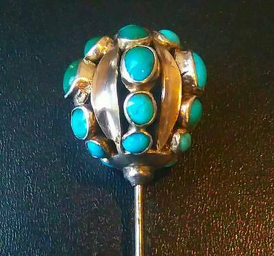 Antique Solid Silver Turquoise Hat Pin